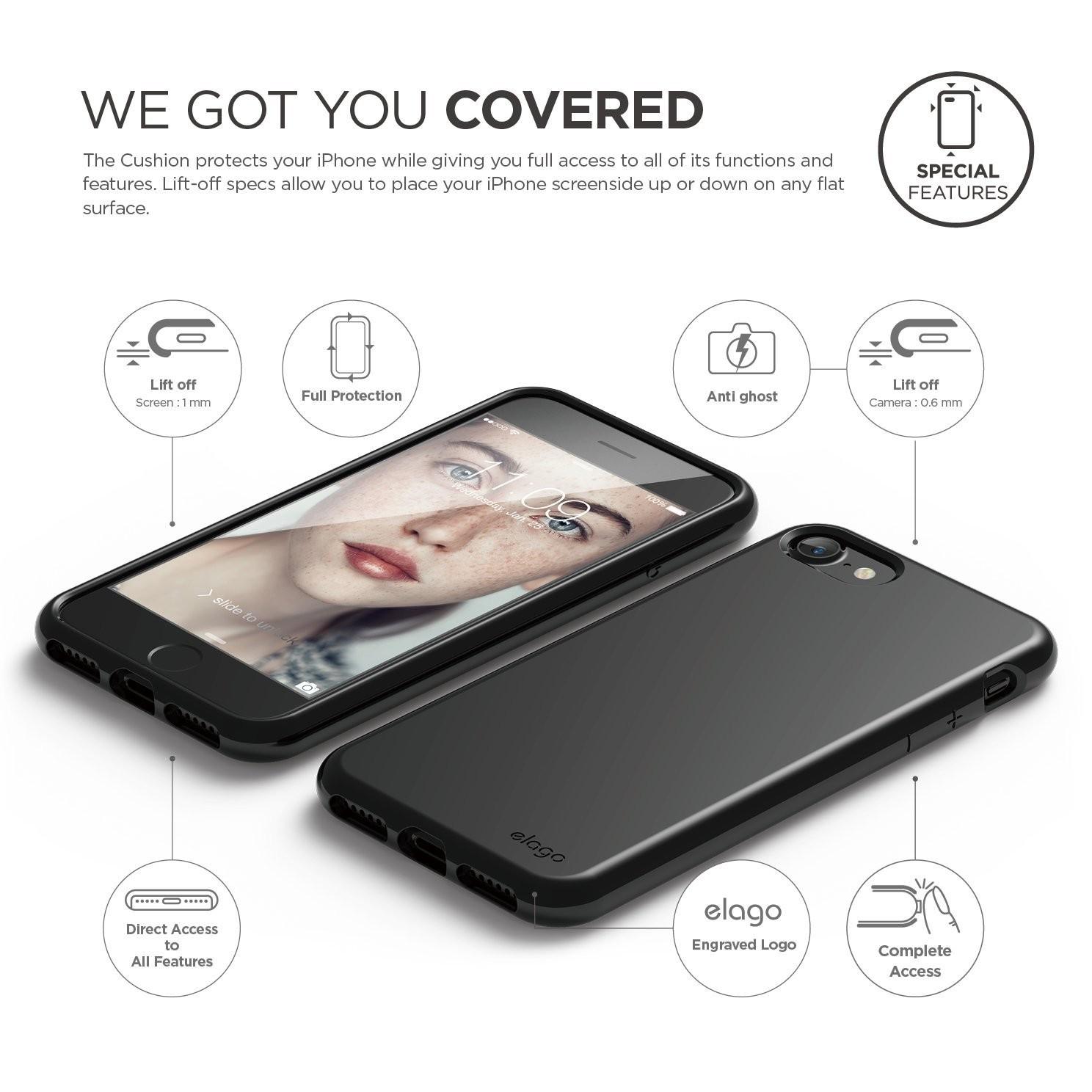 elago   Cushion for iPhone 7 - Jet Black - Cases 70be3fc40ed