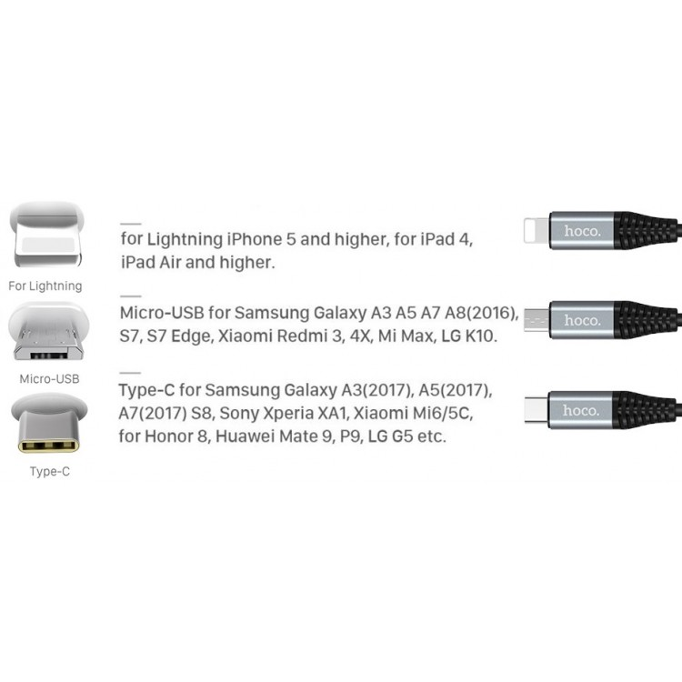 hoco Battery Cable 2000mAh For Type-c 1 2m Black - Type-C