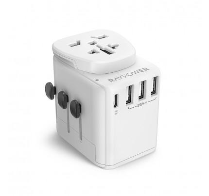 RAVPower / Travel Charger / Diplomat 30W 4-Port PD QC3.0-White