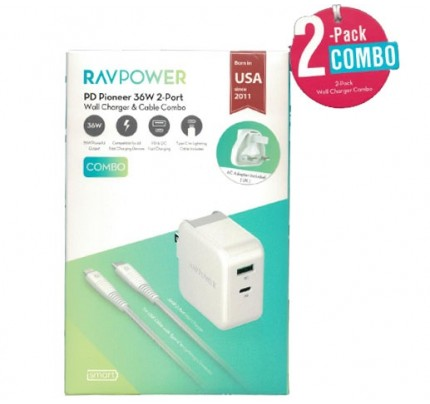 RAVPower / Wall Charger / COMBO [2-Pack] (Wall Charger 36W+C-Lightning Cable 1m) -White