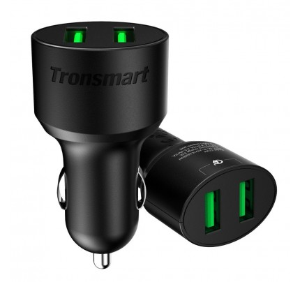 Tronsmart / USB Car Charger 36W 2-Port Both Support QC 3.0 - Black