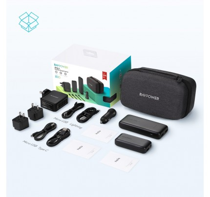 RAVPower / Portable Charger / COMBO [10-Pack] 10-in-1 Eva Box (12000mAh+6700mAh+4Cables+2Plugs+Wall Charger+Car Charger) -Black