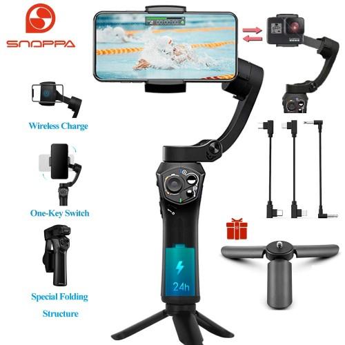 SNOPPA / ATOM 3-Axis Foldable Handheld Gimbal Stabilizer For Smartphone 310g 2000mAH 7.4V With Mini Tripod -Black