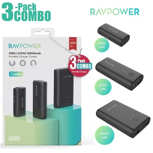 RAVPower / Power Bank / COMBO [3-Pack] Portable Charger (3350mAh+6700mAh+10050mAh) -Black