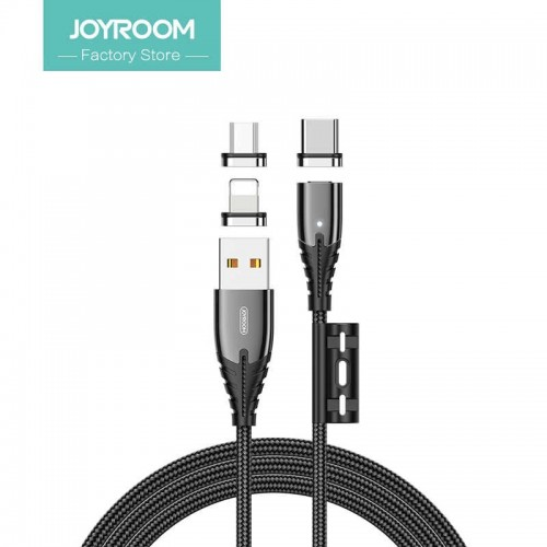 joyroom magnetic series apple data cable 1.2m lightning+micro+type-c black