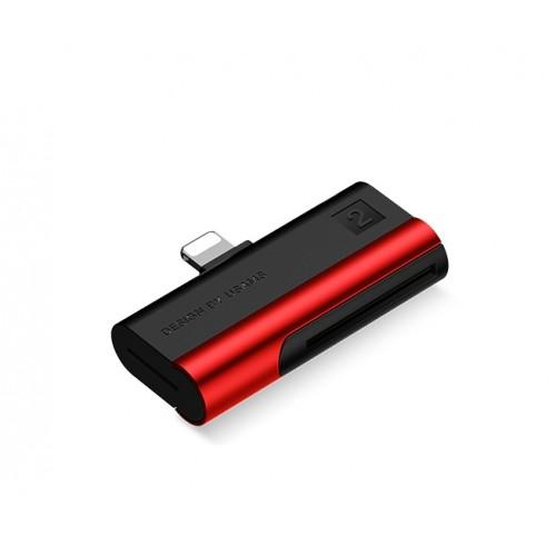 USAMS Lightning Port Card Reader SD card+TF card red