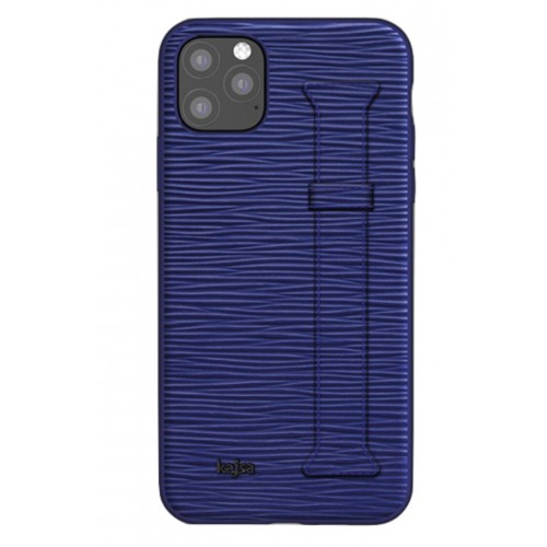 Kajsa Genuine Leather Wave Pattern Strap iPhone 11 Pro Max case Blue