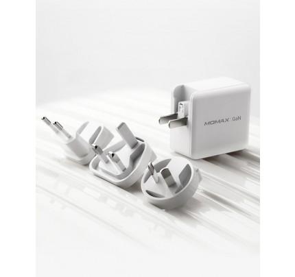 Momax One Plug 65W 3-Port GaN Charger with 3 Plug - White