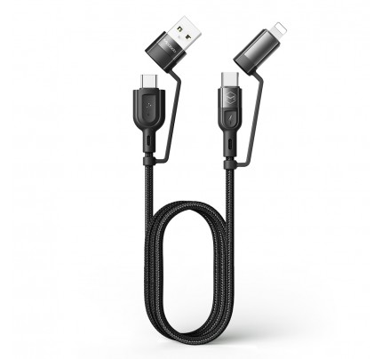 MCDODO 4 in 1 PD Fast Charge Data Cable 1.2m black