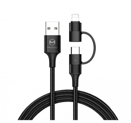MCDODO Atom Series 2 in 1 Lightning+Type-C Cable 1.2m with LED black