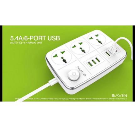bavin 3 power socket 6USB with 3 plug white