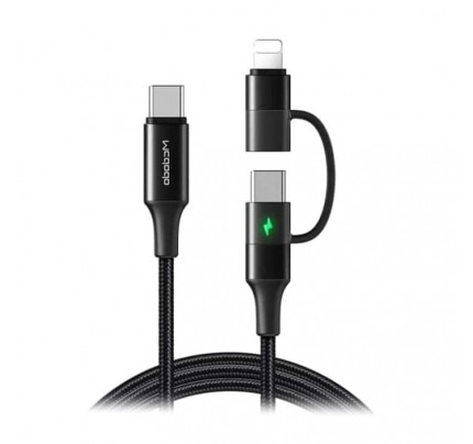MCDODO Atom Series 2 in 1 Type-C to Lightning+Type-C Cable 1.2m with LED black