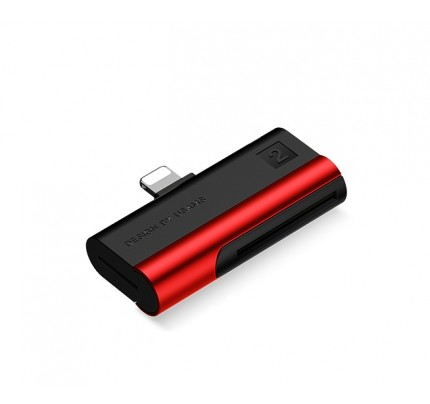 USAMS Lightning Port Card Reader SD card+TF card red